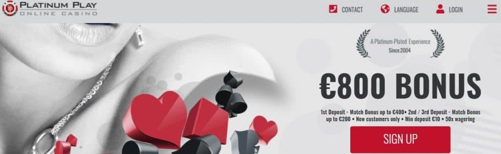 screenshot of platinum play casino homepage